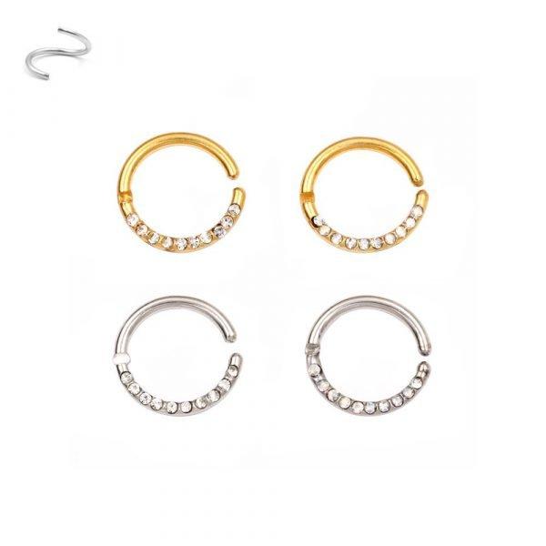 Piercing anello in acciaio chirurgico 316L con brillantini