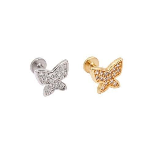 Piercing Labret con brillantini a forma di farfalla e filettatura interna