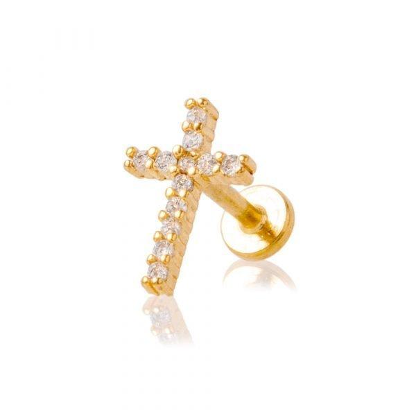 Piercing Labret con brillantini a forma di croce e filettatura interna