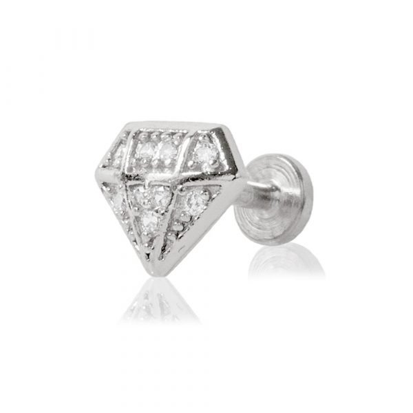Piercing Labret con brillantini a forma di diamante e filettatura interna