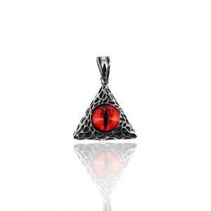 Ciondolo a Forma di Triangolo con Occhio di drago, In Acciaio
