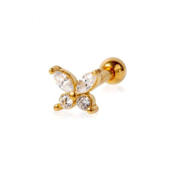 Helix piercing in acciaio chirurgico con farfalla e ziconi