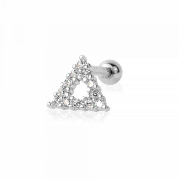 Helix piercing in acciaio chirurgico con triangolo e ziconi