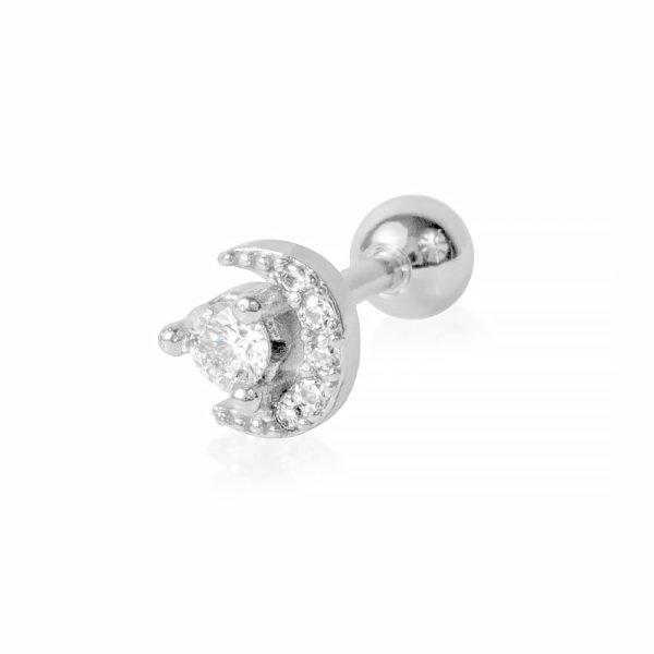 Helix Piercing all'orecchio con brillantini a forma di Luna e Stella